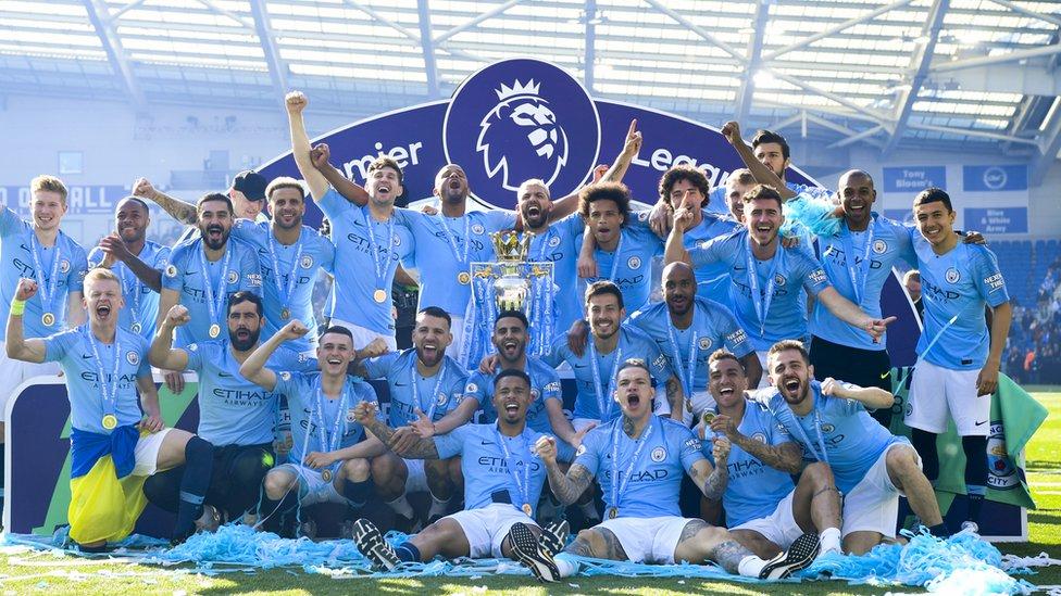 El Manchester City campeón de la Liga Premier.