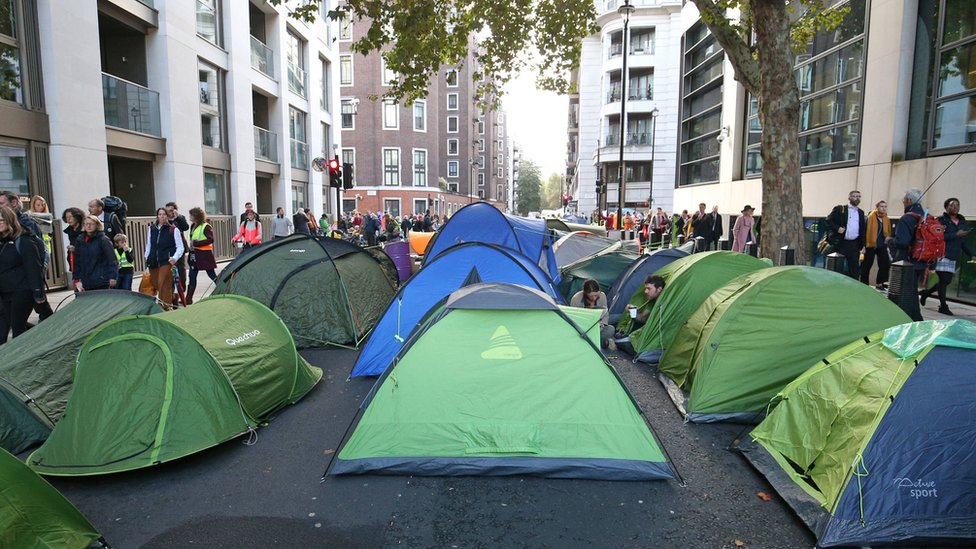 Tents in Horseferry Road