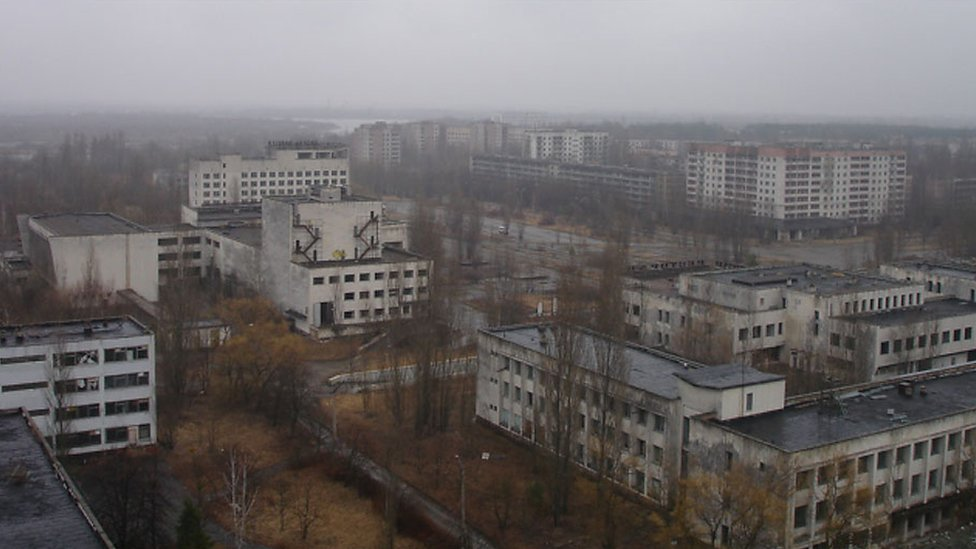 Chernobyl skyline buildings, as seen on 1 April 2010.