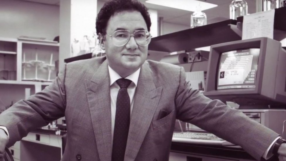 Barry Sherman earlier in his career posing as part of pharmaceutical promotional video