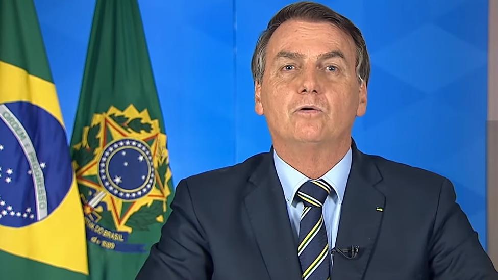 Jair Bolsonaro durante el pronunciamiento