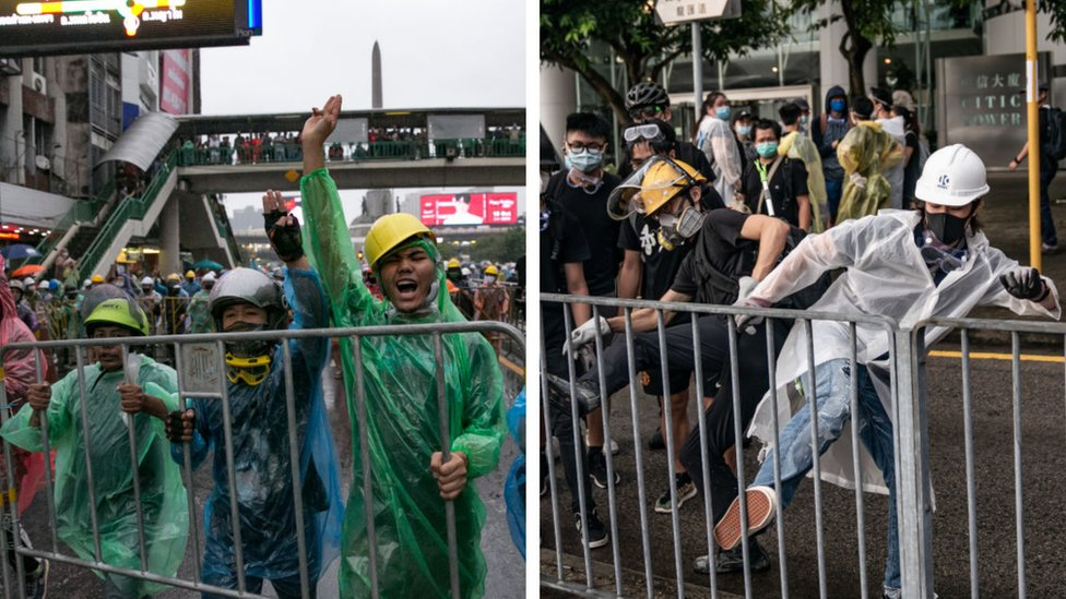 Protesters in Bangkok (L) and protesters in Hong Kong last year (R)