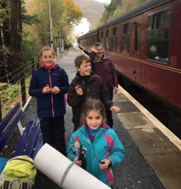 family on platform