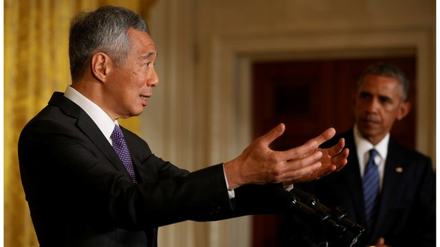 Singapore Prime Minister and Barack Obama at a White House press conference