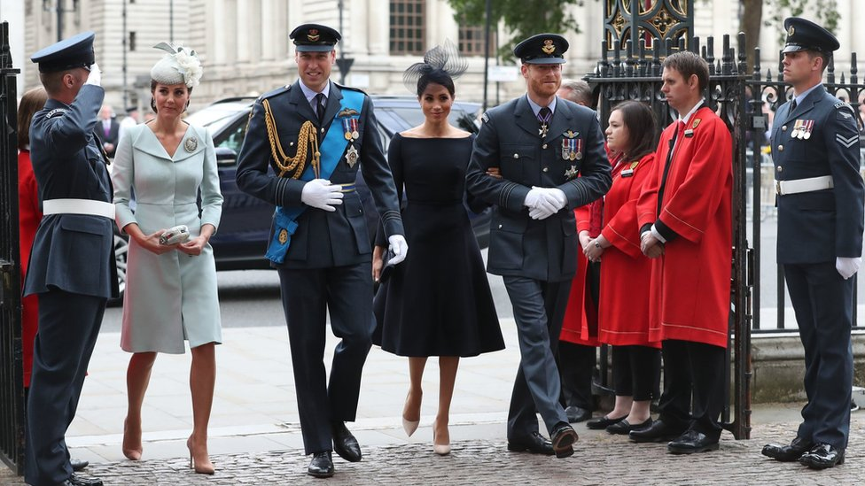 The Duke of Cambridge and the Duke and Duchess of Sussex