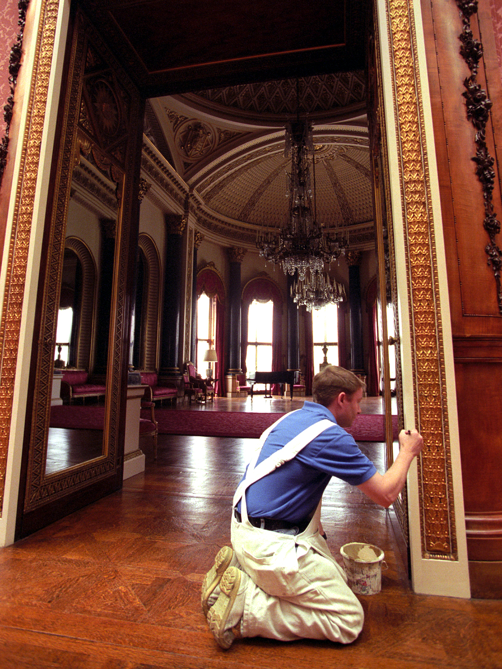 Finishing touches ahead of the opening of the state rooms in 1998
