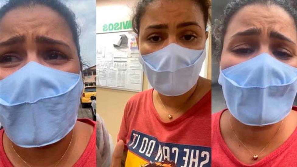 Thalita Rocha de máscara e emocionada enquanto grava vídeo para o Instagram