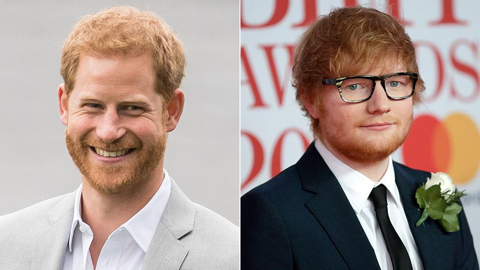Príncipe Harry y Ed Sheeran