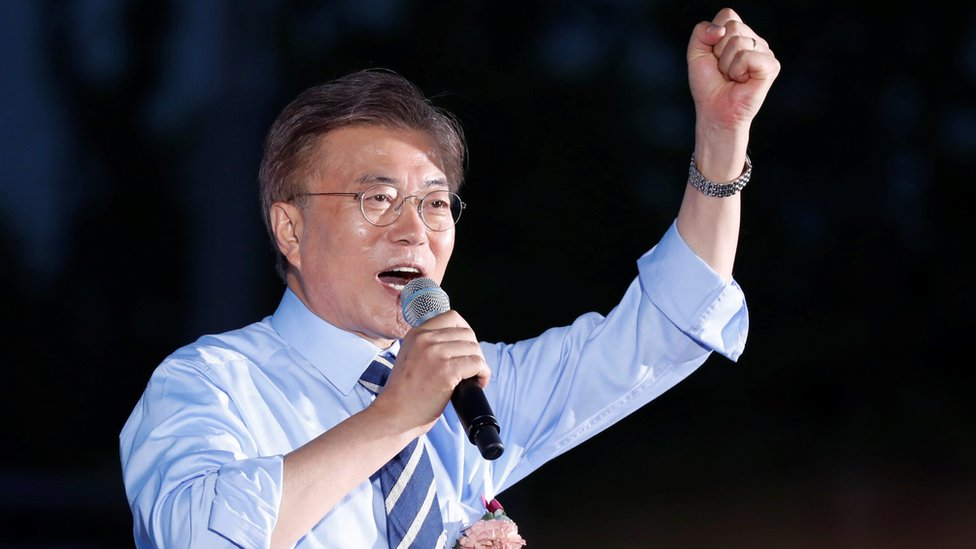 South Korean presidential challenger Moon Jae-In pictured during a rally in Seoul on 8 May