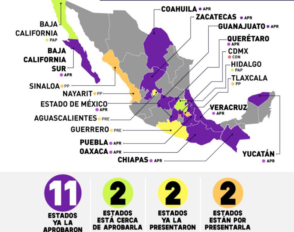 11 estados de México han aprobado la Ley Olimpia.