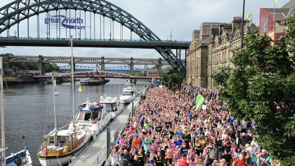 Young runners took on the Mini Great North Run around Tyneside