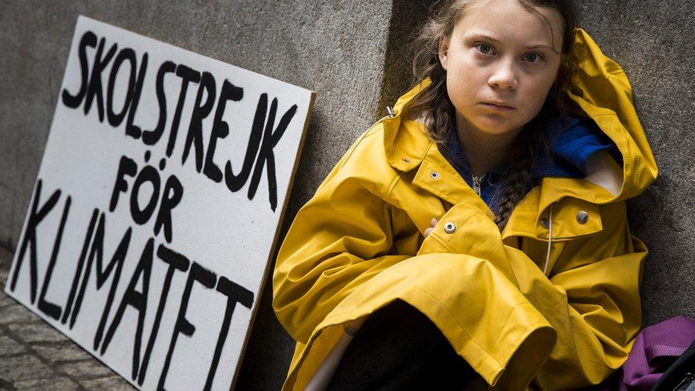 格蕾塔·桑伯格在斯德哥爾摩瑞典國會大廈外靜坐抗議(28/8/2018)
