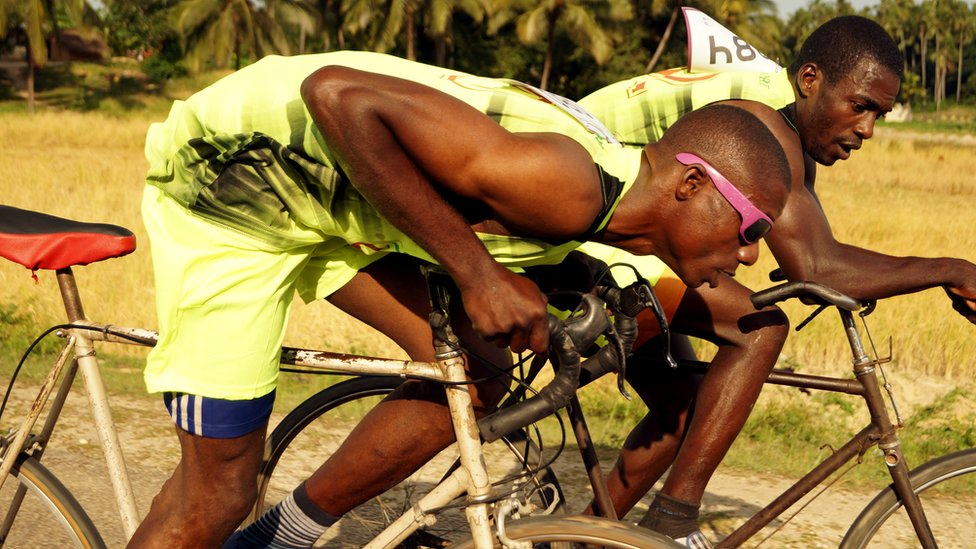 The 87km route is gruelling- it climbs the island's highest slope and takes most competitors over 2 hours to complete