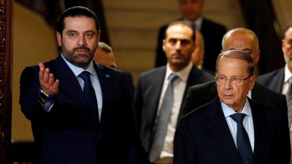 سعد الحريري مع العماد عون