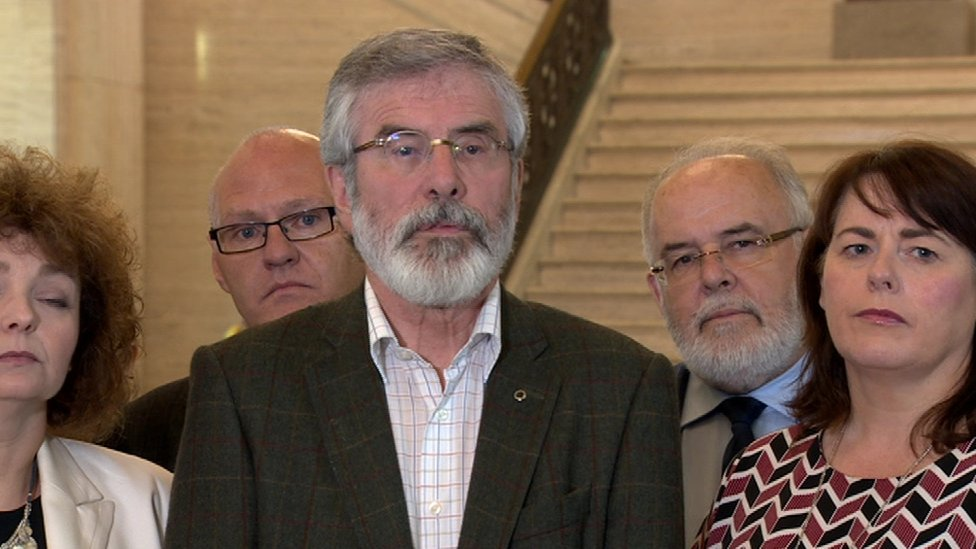 "Gerry Adams said Sinn Féin did not believe ""any deal between the DUP and the English Tories will be good"" for Northern Ireland"