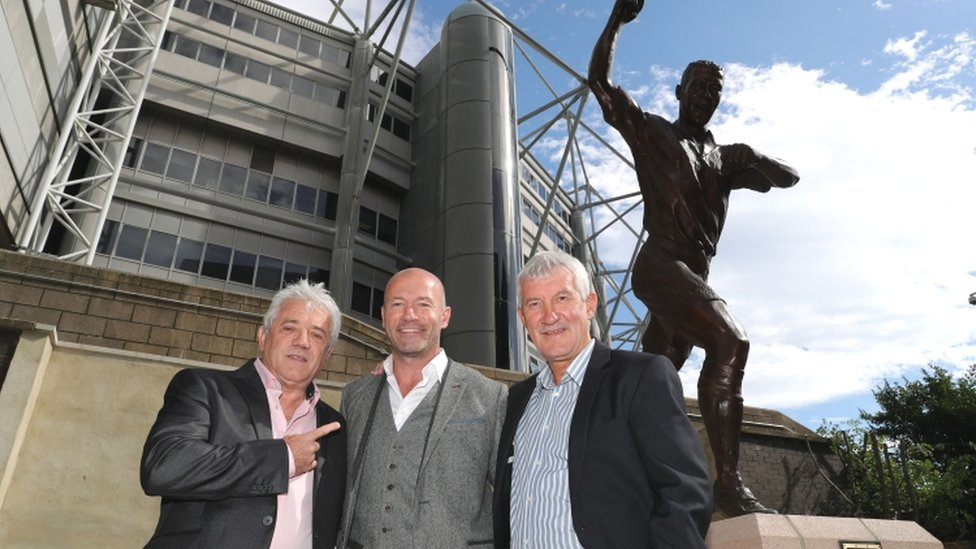 Alan Shearer (centre) Terry McDermott (right) and Kevin Keegan