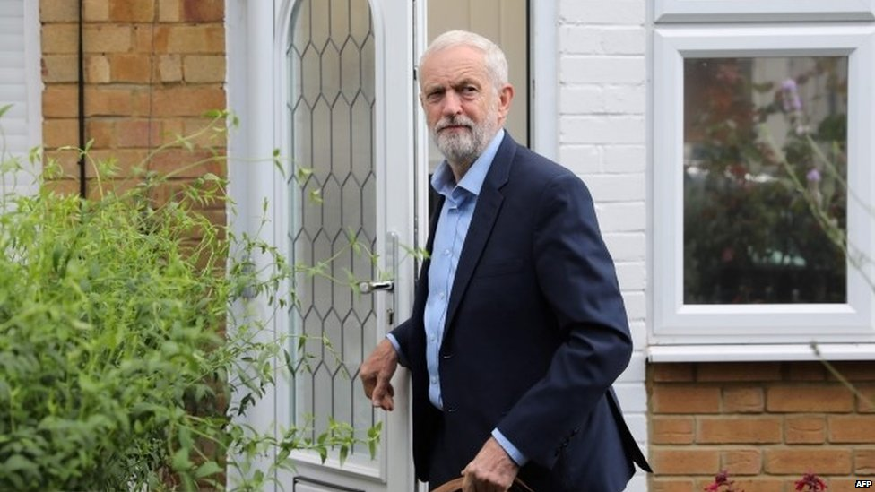 Jeremy Corbyn leaving his home