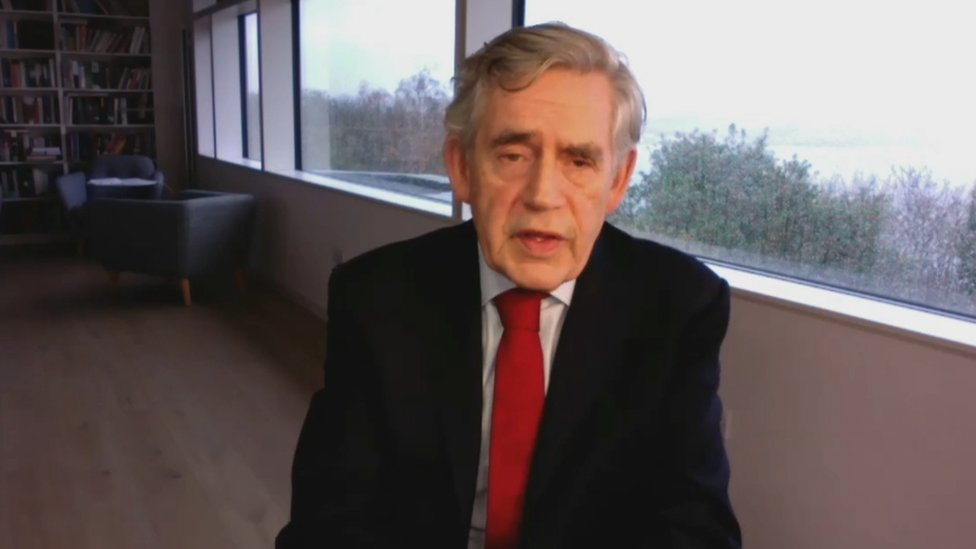 Gordon Brown on zoom call with Douglas Fraser