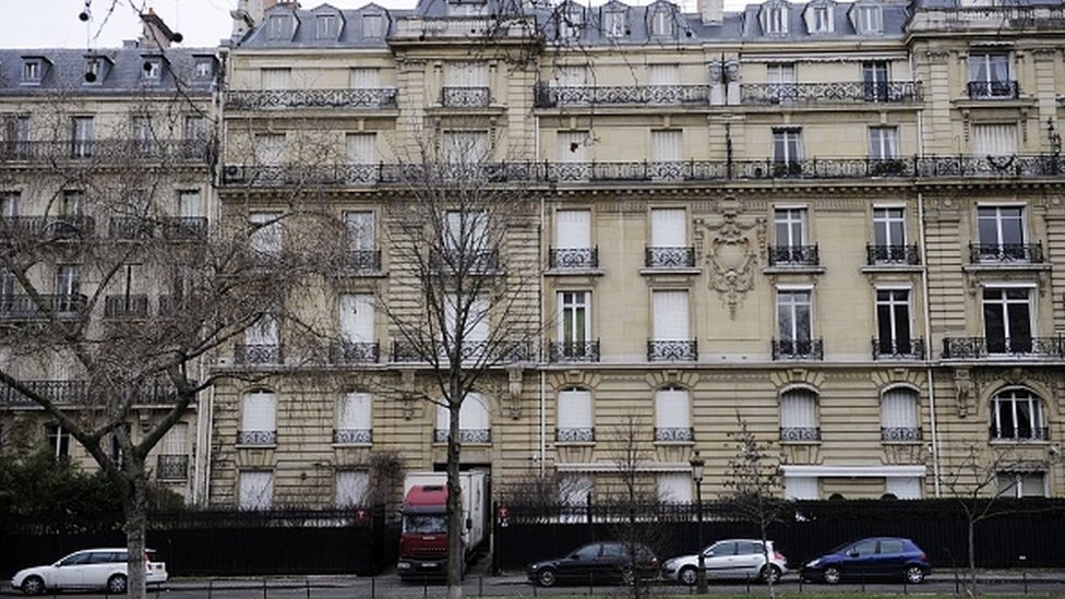 Picture taken on February 14, 2012 on the Avenue Foch in Paris shows a truck at the entrance of Paris residence of Teodorin Obiang Mangue, the son of Equatorial Guinea's President Teodoro Obiang, being searched by French police as part of a corruption probe.