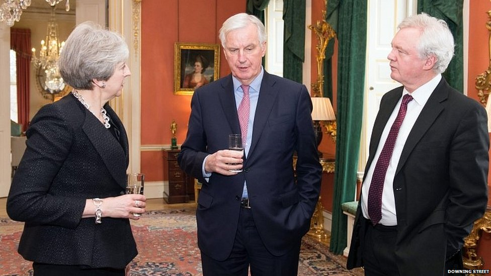David Davis (far right) with Theresa May and Michel Barnier in Downing Street in February
