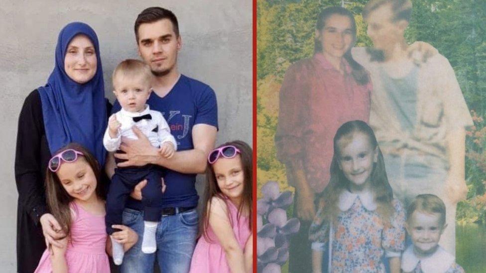 """Ermina sa porodicom danas (levo) i fotogmontaža """"Srećna porodica"""" na kojoj je sa majkom, sestrom i ubijenim ocem"""