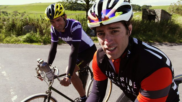 Presenter OJ Borg take on professional cyclist Kristian House and races him up one of the hardest climbs in the Peak District.