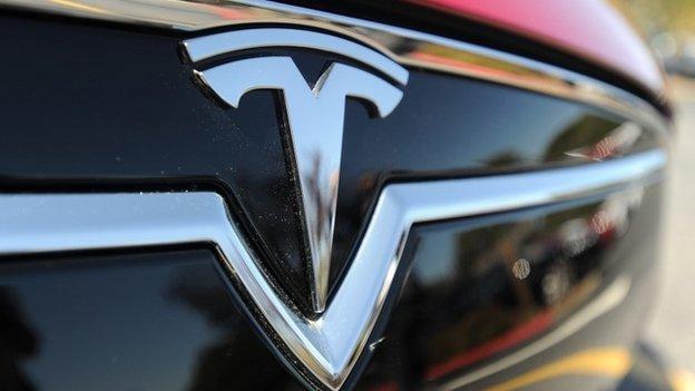 Tesla car grille close-up