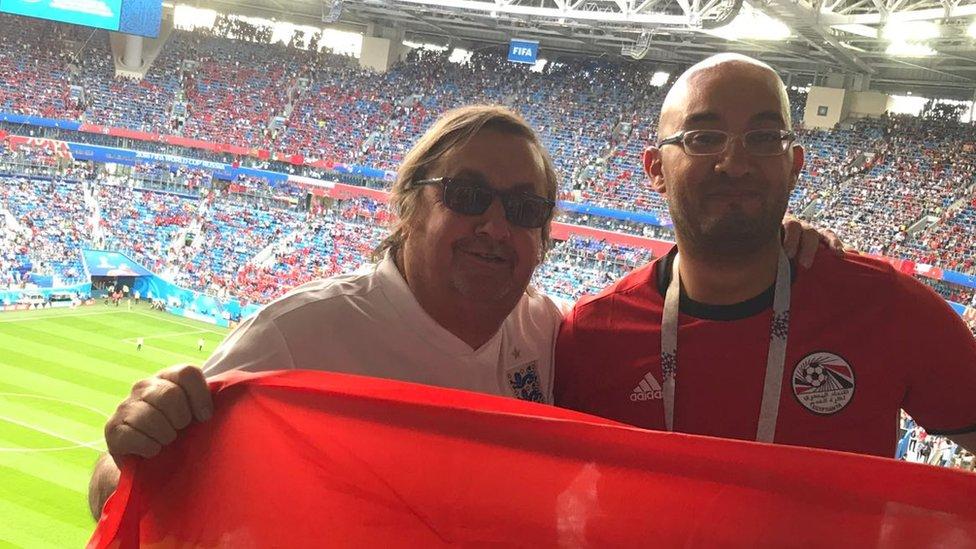 Paul Dubberley with Foley, an Egyptian fan he met on the trip