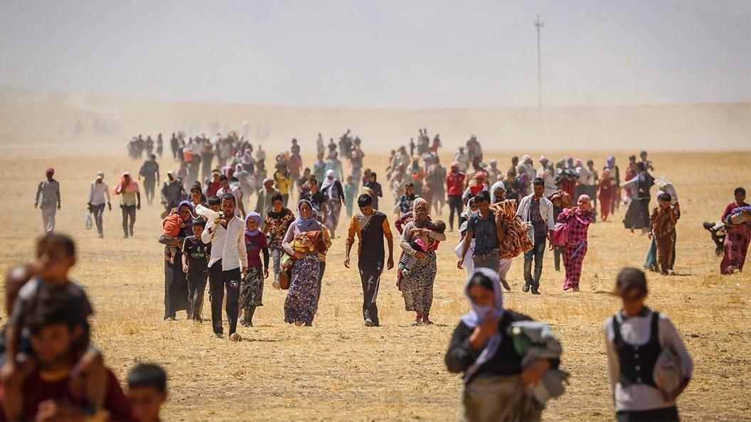 Éxodo de yazidís en Irak.