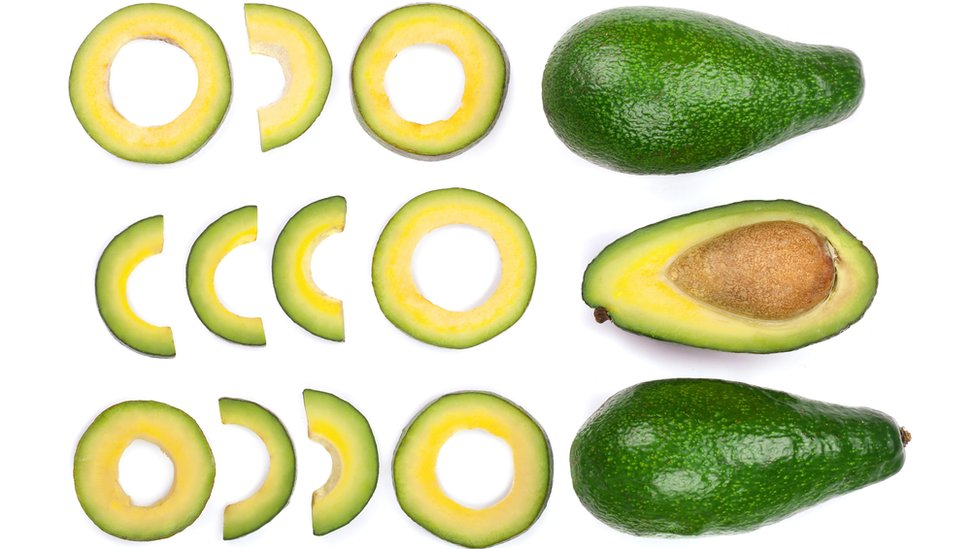 Sliced avocado used as an example of fractioning