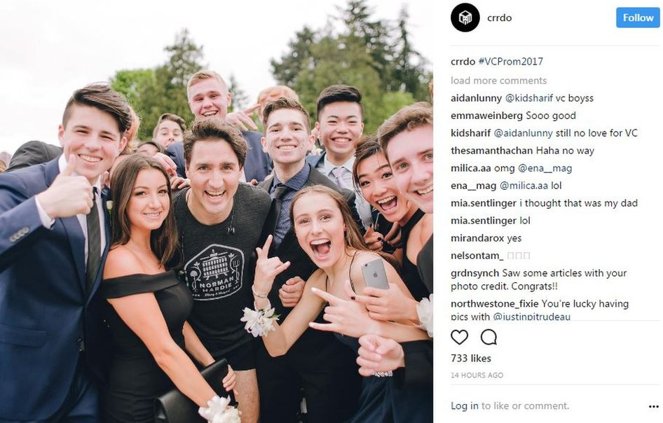 Photographer Cam Corrado captured the students' moment with PM Justin Trudeau