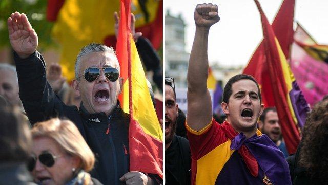 Composición de simpatizantes de ideologías contrapuestas en España