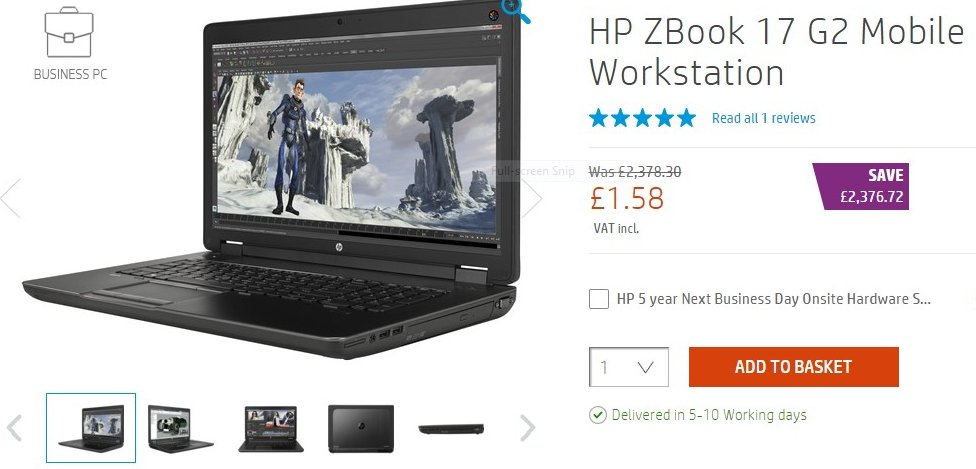 HP laptop on sale for £2
