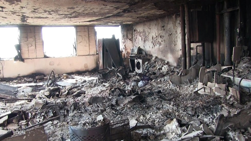 Inside of burnt out flat at Grenfell Tower