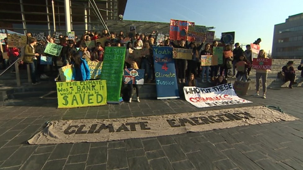 Protesters demonstrating in Cardiff Bay