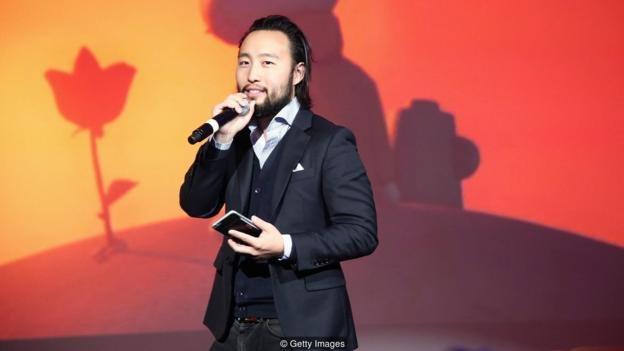 Eugene Chung berbicara di panggung saat Tribeca Film Festival pada 2016 - film VR-nya, Allumette, disebut sebagai