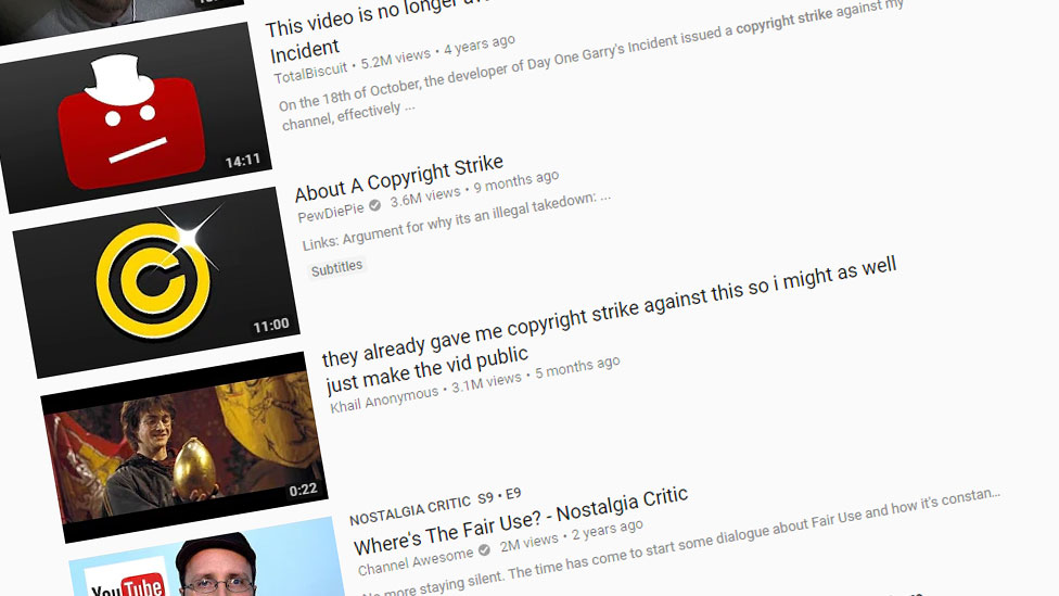 A screenshot of many of the videos about copyright complaints