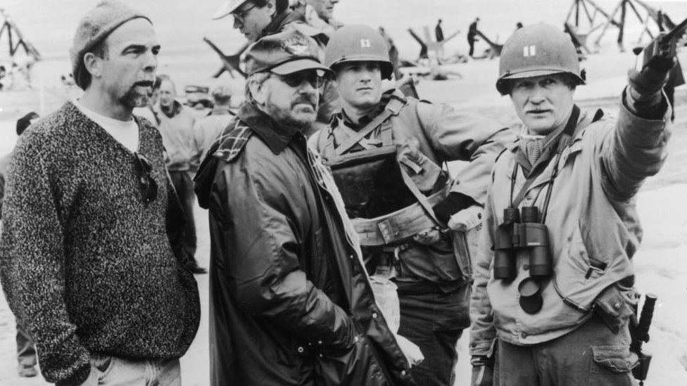 Steven Spielberg during the shooting of Saving Private Ryan
