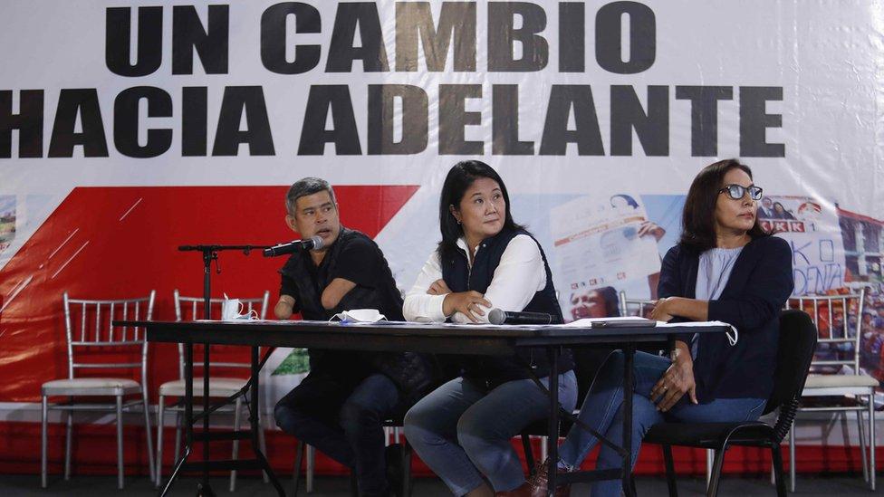 Keiko Fujimori en rueda de prensa el lunes 7 de junio
