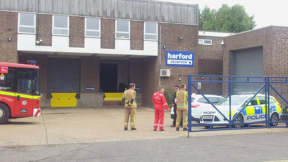 Fire officers and police at Harford on 14/7/15