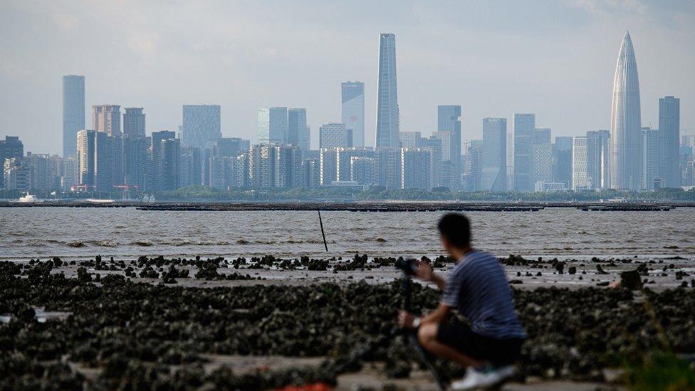 一名男子在香港隔海拍攝深圳天際線。