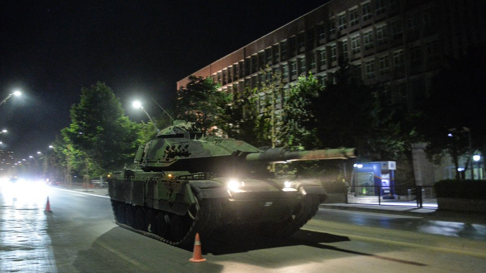 A tank rolls through the streets of Ankara, Turkey, during an army coup