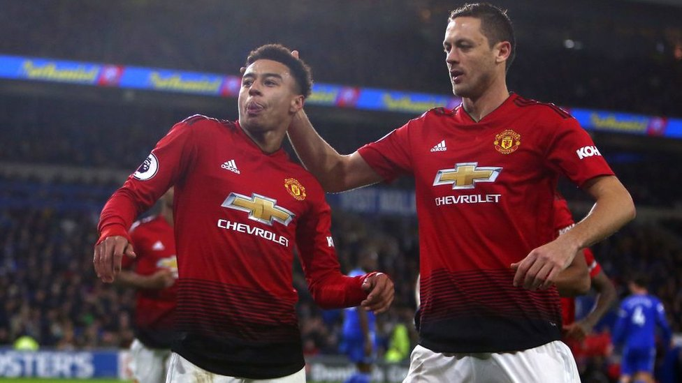 Jesse Lingard does drill dance move the gun lean after celebrating a goal against Cardiff