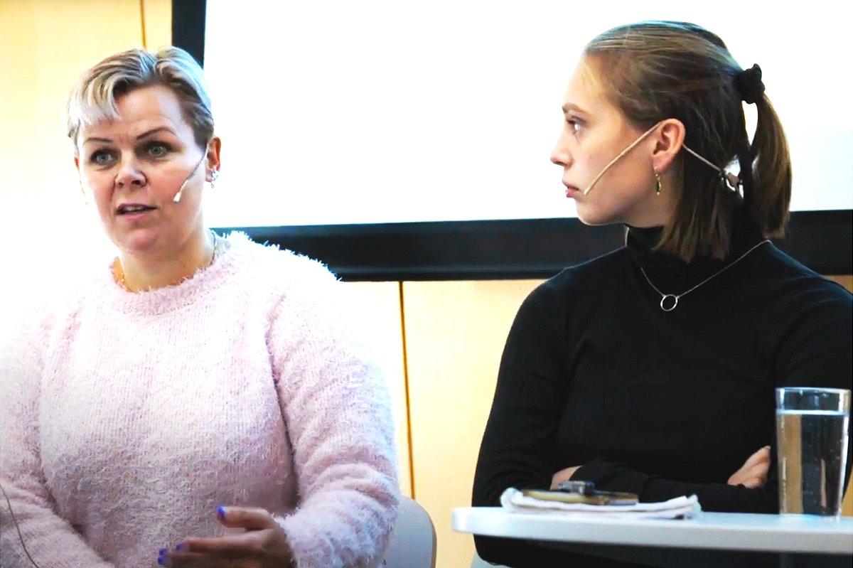 Emma Bugge Gjerdevik (R) and Hilde-Marit Rysst (L) at a debate in 2019