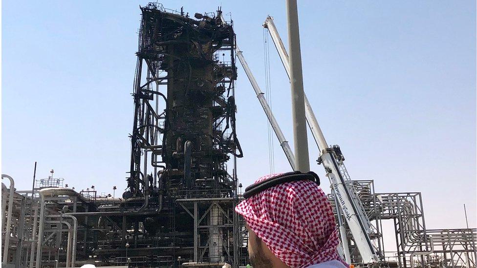Damaged superstructure at Khurais, Saudi Arabia (20 September)