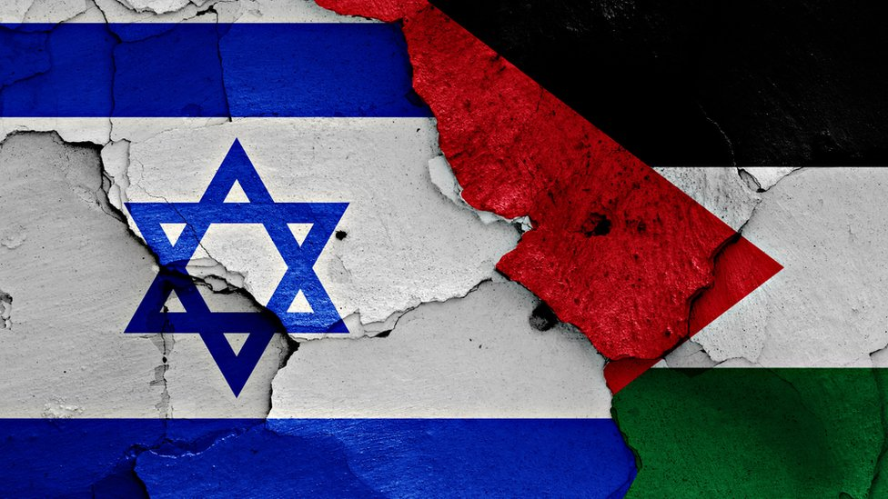 Mapa Israel y Palestina.