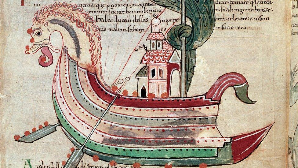 Dibujo de barco vikingo del siglo X