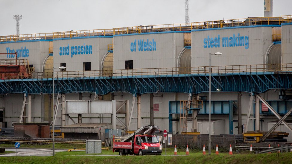 Port Talbot steelworks building with the words written The Pride of Welsh Steel Making on it