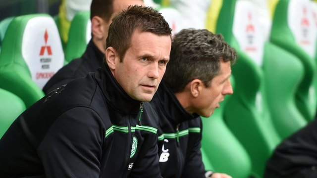 Ronny Deila in the dugout before the match with Ross County
