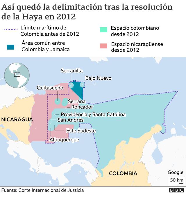 Mapa delimitacion San Andres Colombia y Nicaragua